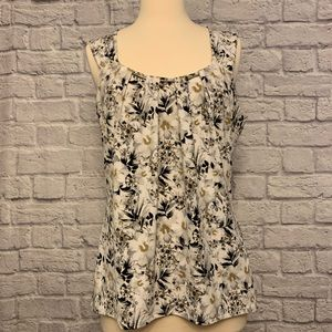 WHBM Lined Floral Print Sleeveless Blouse